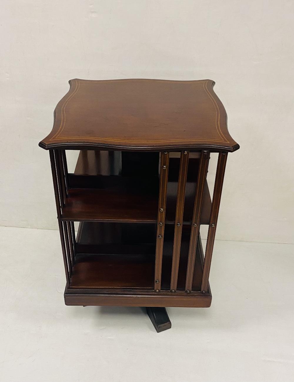 Edw Inlaid Mahogany Revolving Bookcase 52cm Sq x 78cm H