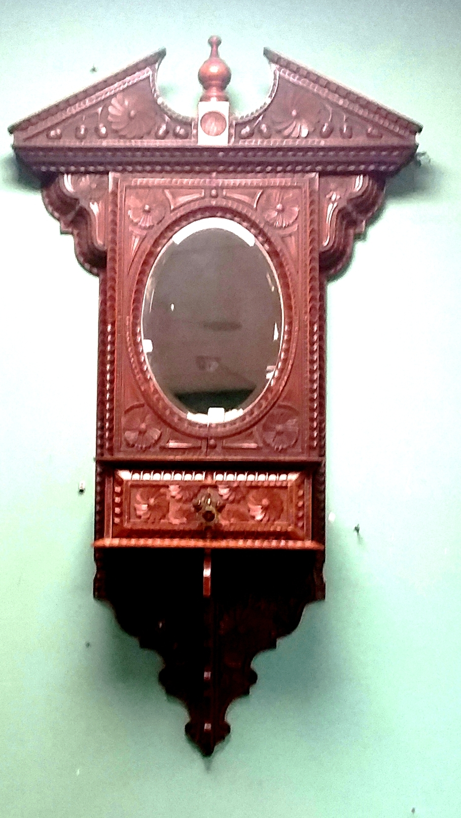 Most Unusual Carved Walnut Hall Hanging Key Cabinet 68cm W 22cm D 120cm H