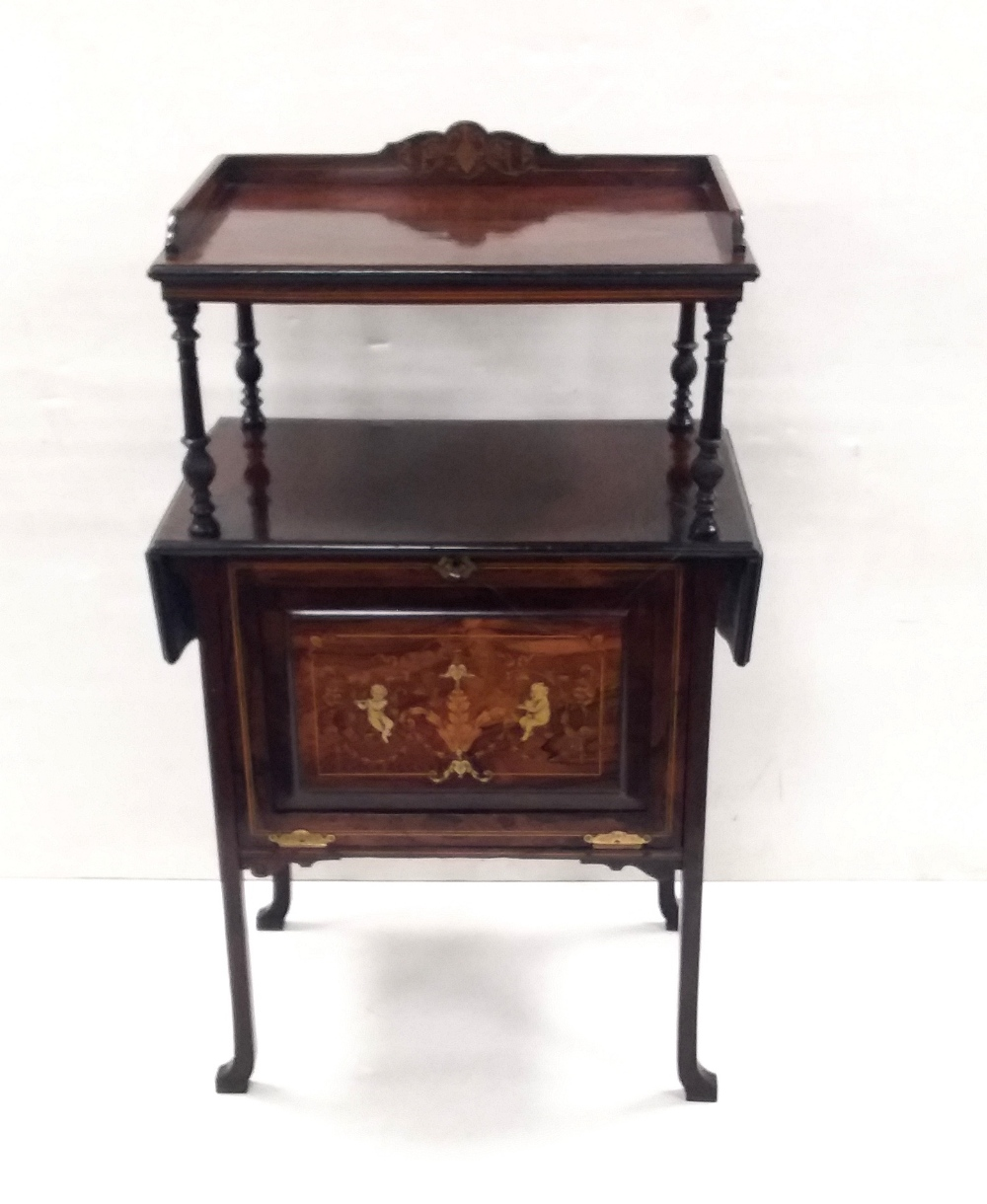Late Vict Inlaid Rosewood Dropleaf Side Cabinet Dimensions: 60cm W 36cm D 103cm H