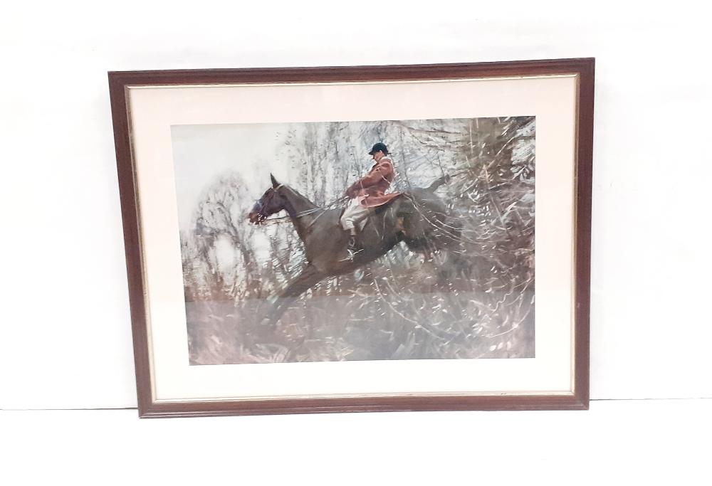 Hunting Print in Mahogany Frame 75cm x 56cm Including Frame