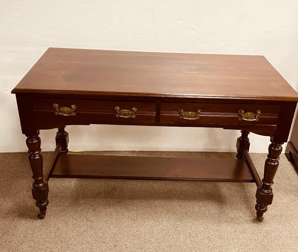 Mahogany 2 Drawer Side Table 121cm W 58cm D 75cm H