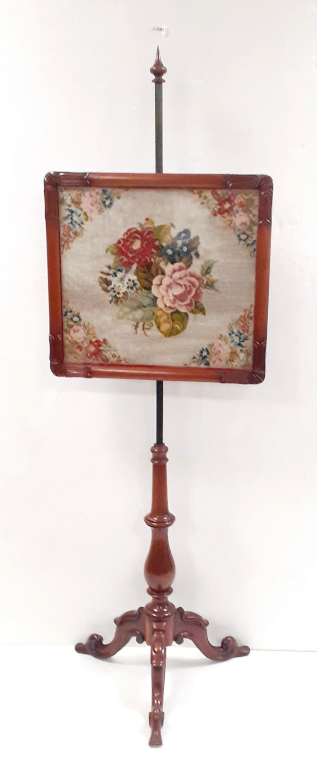 Vict Mahogany Tapestry Pole Screen