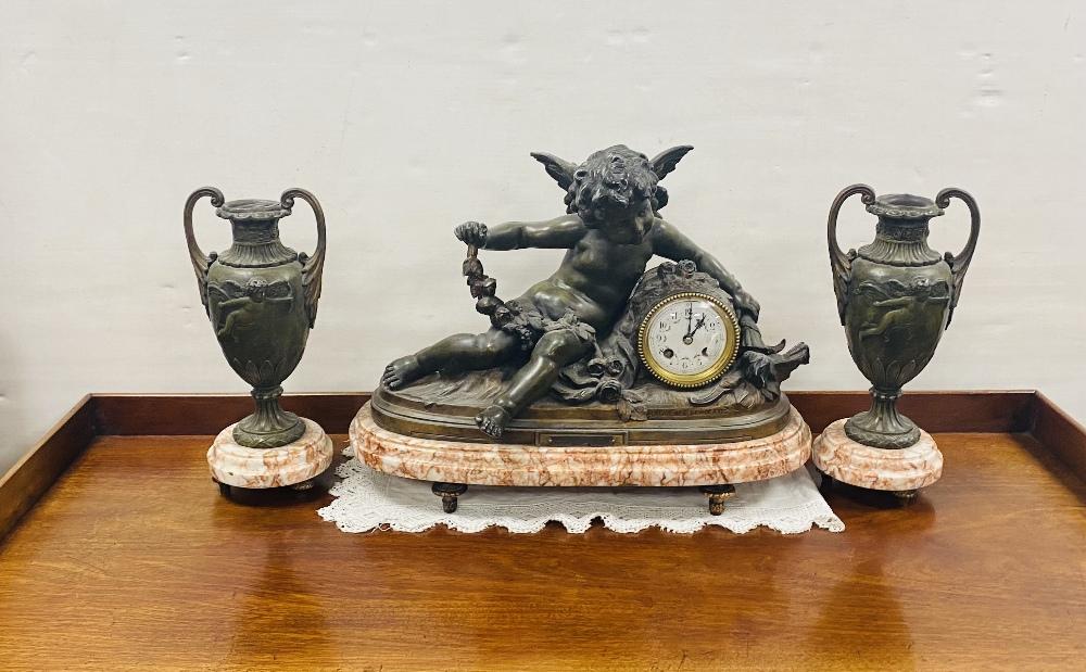 19C 3 Piece Spelter & Marble Clock Set