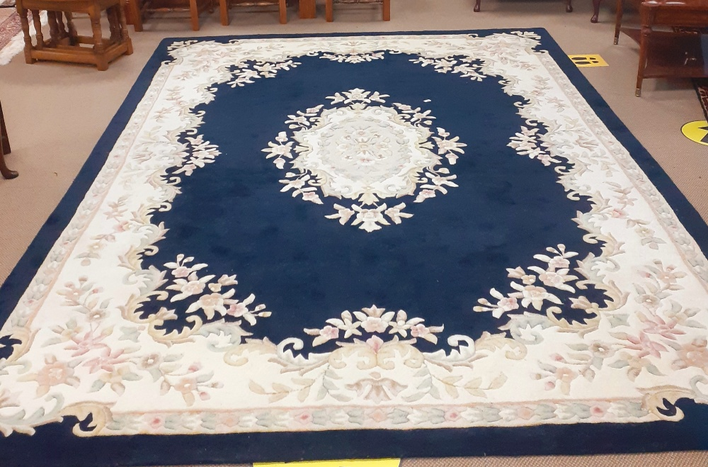 Almost New Chinese Wool Rug with Navy & Cream Border,