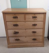 Vict Pine 2 over 3 Chest of Drawers 115cm W 50cm D 115cm H