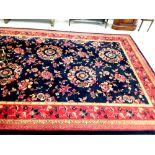 Large Rust & Black Floral Rug 280cm x 500cm