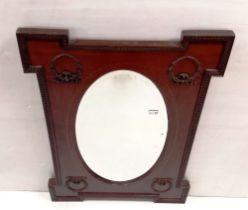 Edw Inlaid Mahogany Overmantle Mirror 66cm W x 96cm