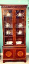 Beautiful Quality Bevan Funnell Inlaid Mahogany Slimline Display Cabinet 80cm W 40cm D 189cm H