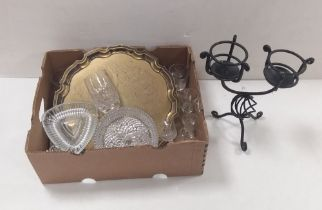 Misc Box of Glass & Silver Plate