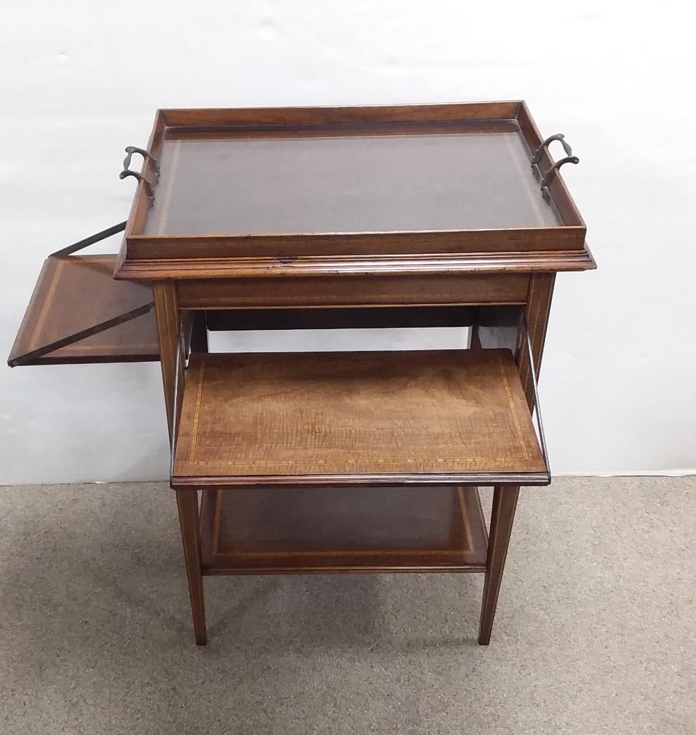 Unusual Edw Inlaid Mahogany Serving Table with Detachable Tray 57cm W 40cm D 77cm H