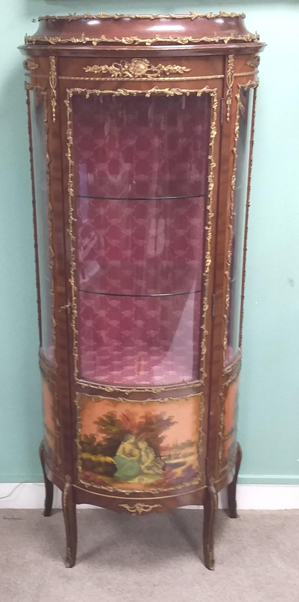 Elegant French Ormolu Mount Vitrienne Cabinet 73cm W 39cm D 164cm H
