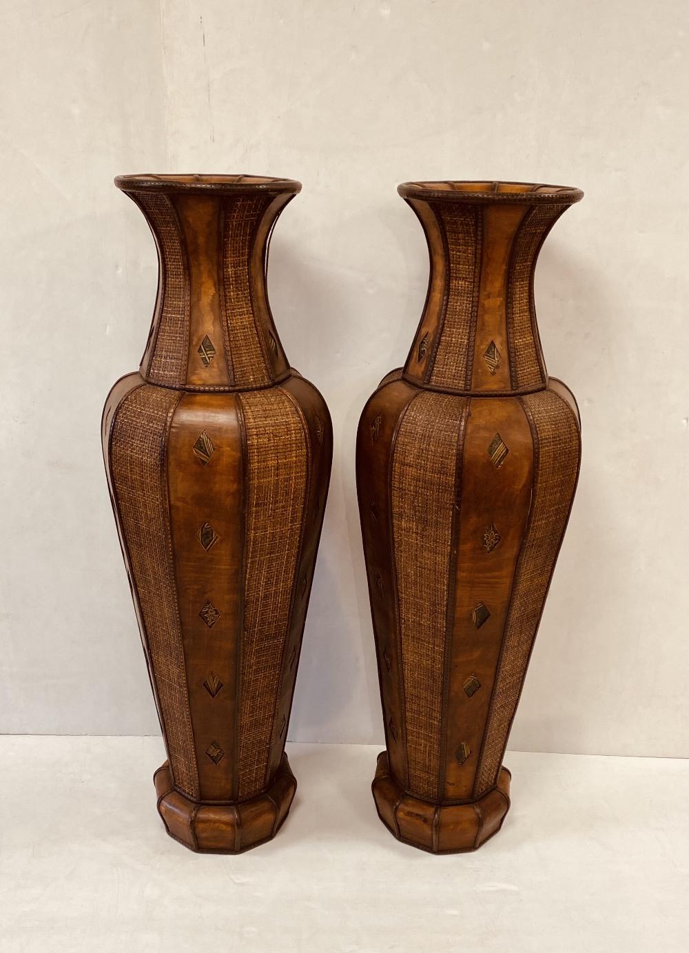 Unusual Pair of Basket Style Tall Vases 128cm H x 42cm Diam