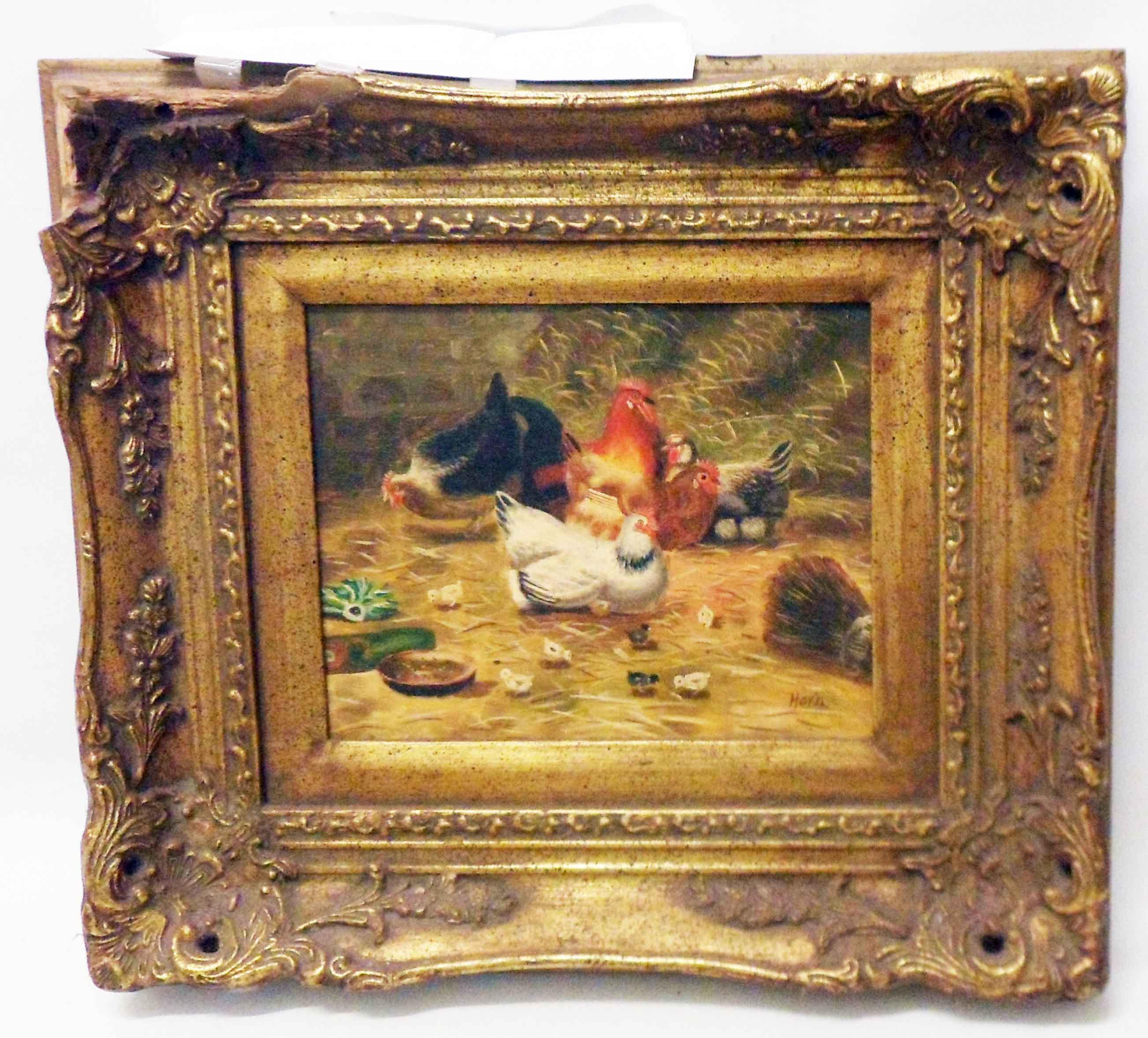 A damaged ornate gilt framed reproduction oil on board, depicting chickens and chicks
