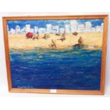 A framed mixed media painting, depicting a beach scene - indistinctly signed and dated '93