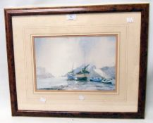 Claude Kitto: a framed faded coloured print, depicting a harbour scene