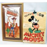 A framed W.D.P. coloured print, depicting Toy Story character Woody - sold with an unframed