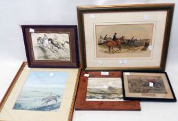 A quantity of assorted framed antique and later hunting prints, including Mrs M. Harcourt Webb
