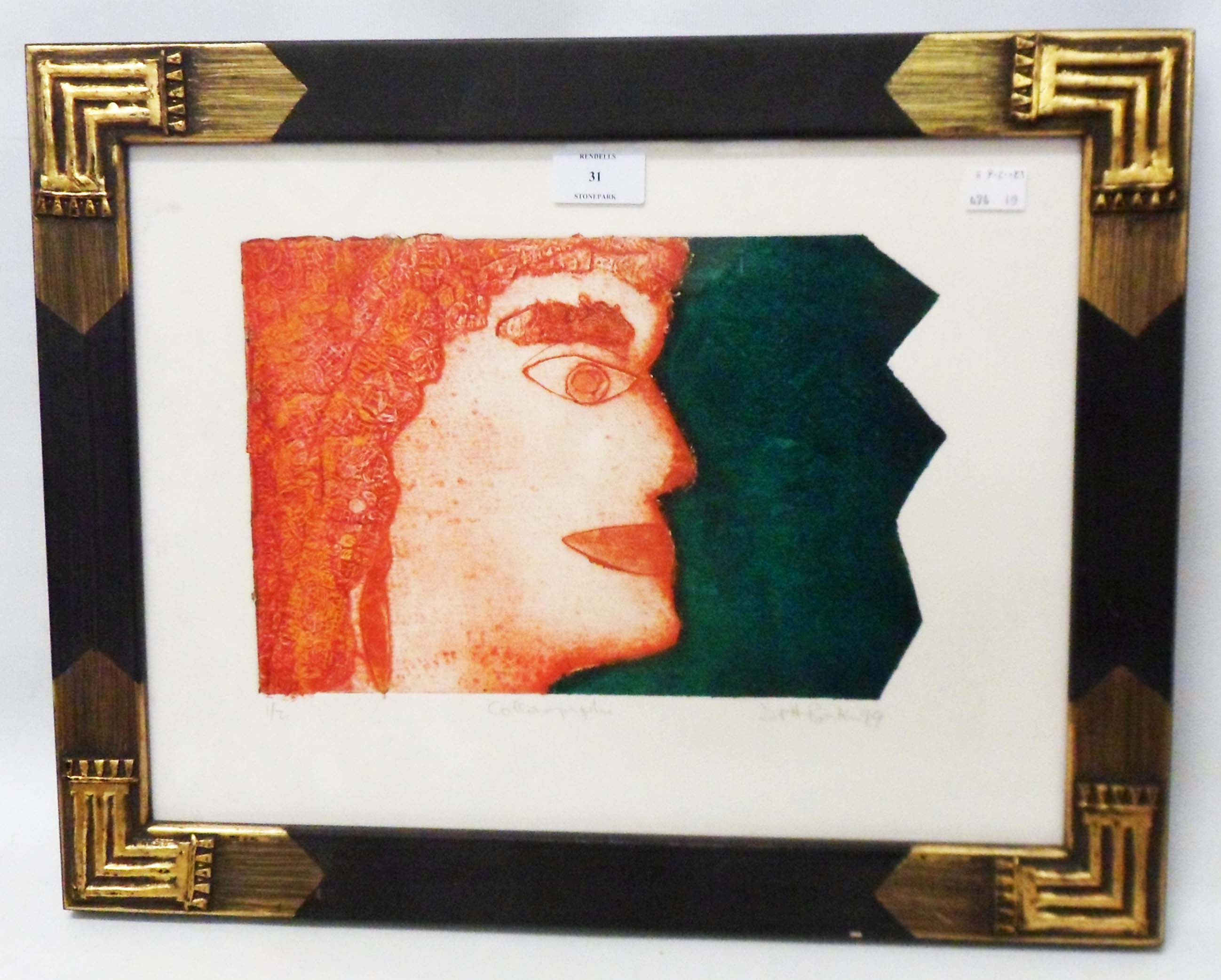 D. P. H. Baker: an ornate framed collagraph, depicting a head in profile - pencil signed and