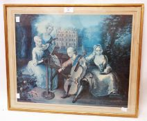 A gilt framed faded to blue coloured print, depicting a music group