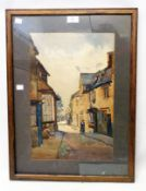 Hensman: a framed watercolour, depicting a street scene in Chipping Campden - signed and titled in