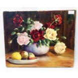 J Reynoldes: an unframed oil on canvas still life with bowls of roses and apples - signed
