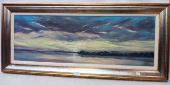 E. J. Matthews: a framed modern oil on canvas, depicting a panoramic view of a tranquil coast -