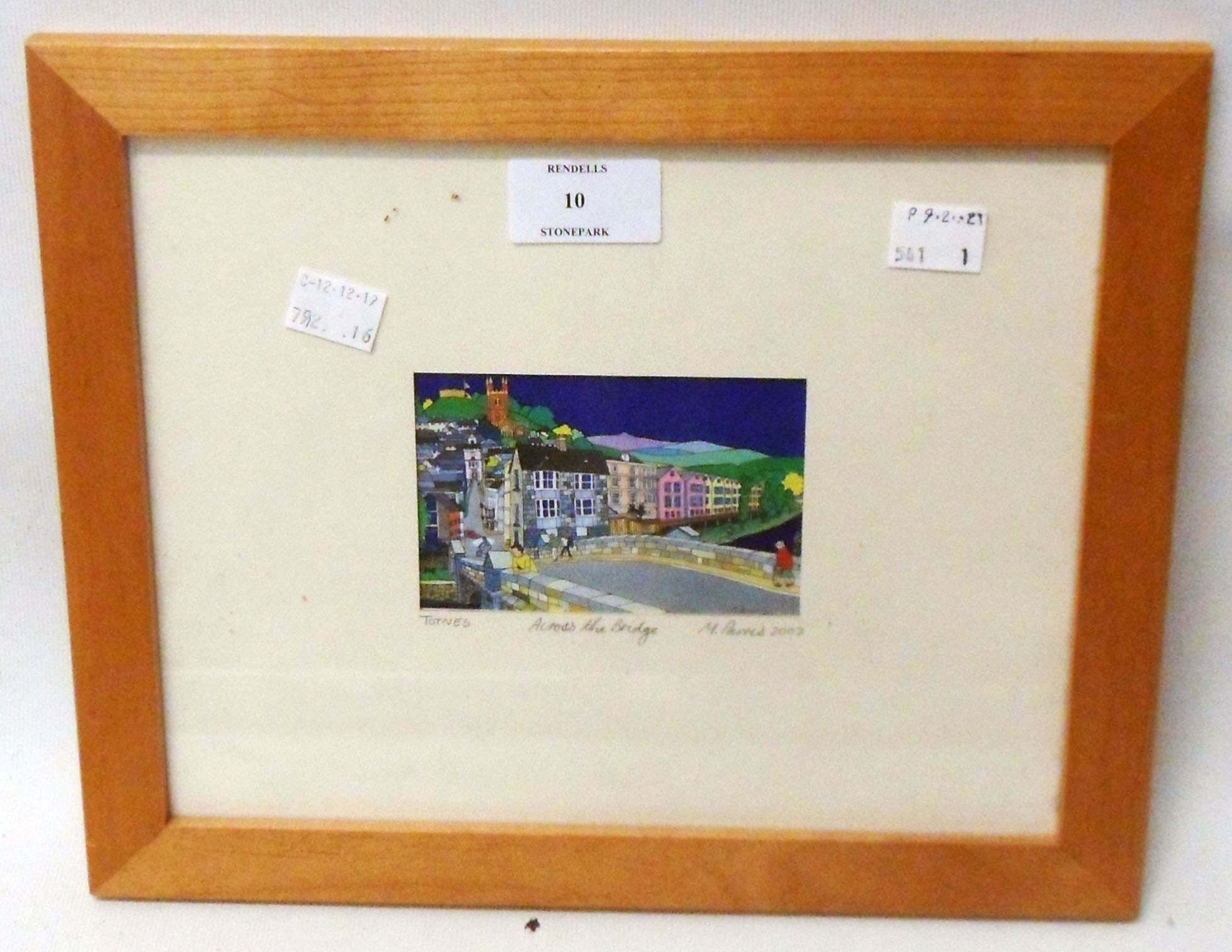 M Parris: a framed miniature polychrome print, entitled Totnes Across the Bridge - signed in