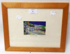 M Parris: a framed miniature polychrome print, entitled Totnes Across the Bridge - signed in