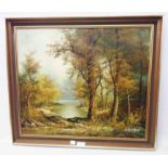†C. Innes: a framed oil on board, depicting a river landscape - signed