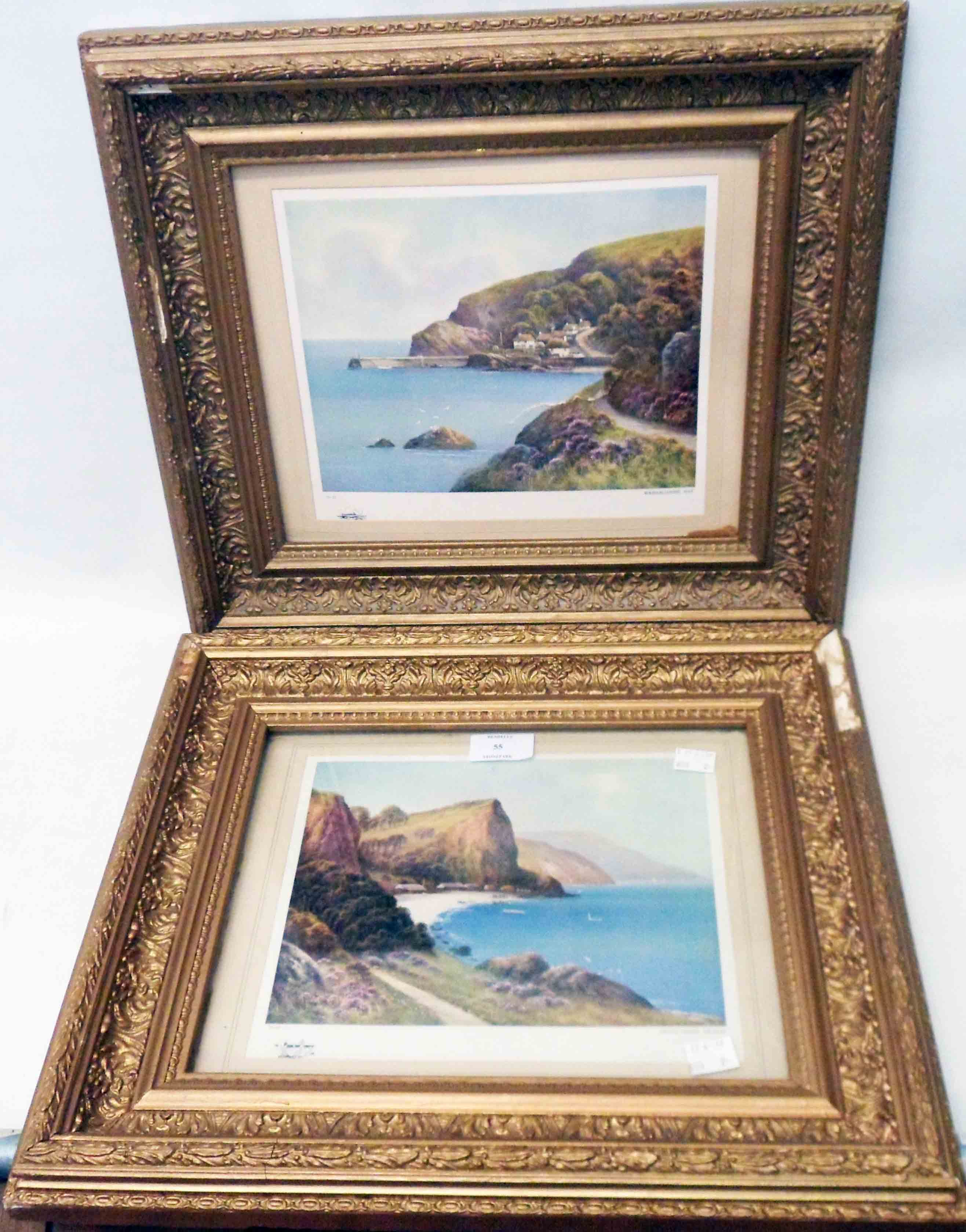 Two framed prints, one entitled Babbacombe Bay, the other Oddicombe Beach - damage to both