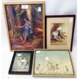Four small framed coloured prints after Margaret W. Tarrant