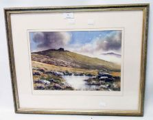 †Bryan Hayes: a framed coloured print, entitled Dartmoor Mists - bearing signed personal