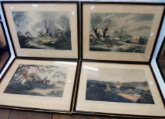 A set of four Hogarth framed reprints of S. Howitt sporting and hunting prints with English and