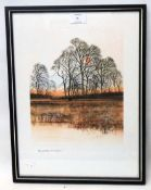 Richard Akerman: a framed coloured print, depicting winter trees