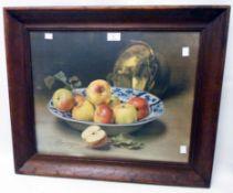 After A.F. Bonnardel: an oak framed coloured print still life with bowl of apples