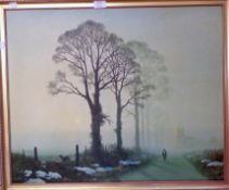 A gilt framed coloured print, depicting Winter trees - minor scuffs to surface