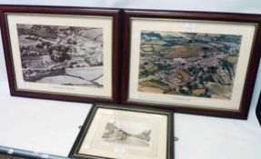 Two framed photographic prints of Buckfastleigh - 1930 and 1994 - sold with a Frith photographic