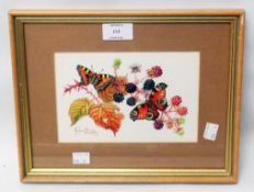 Marjorie Blamey: a small gilt framed watercolour study of butterflies on brambles - signed