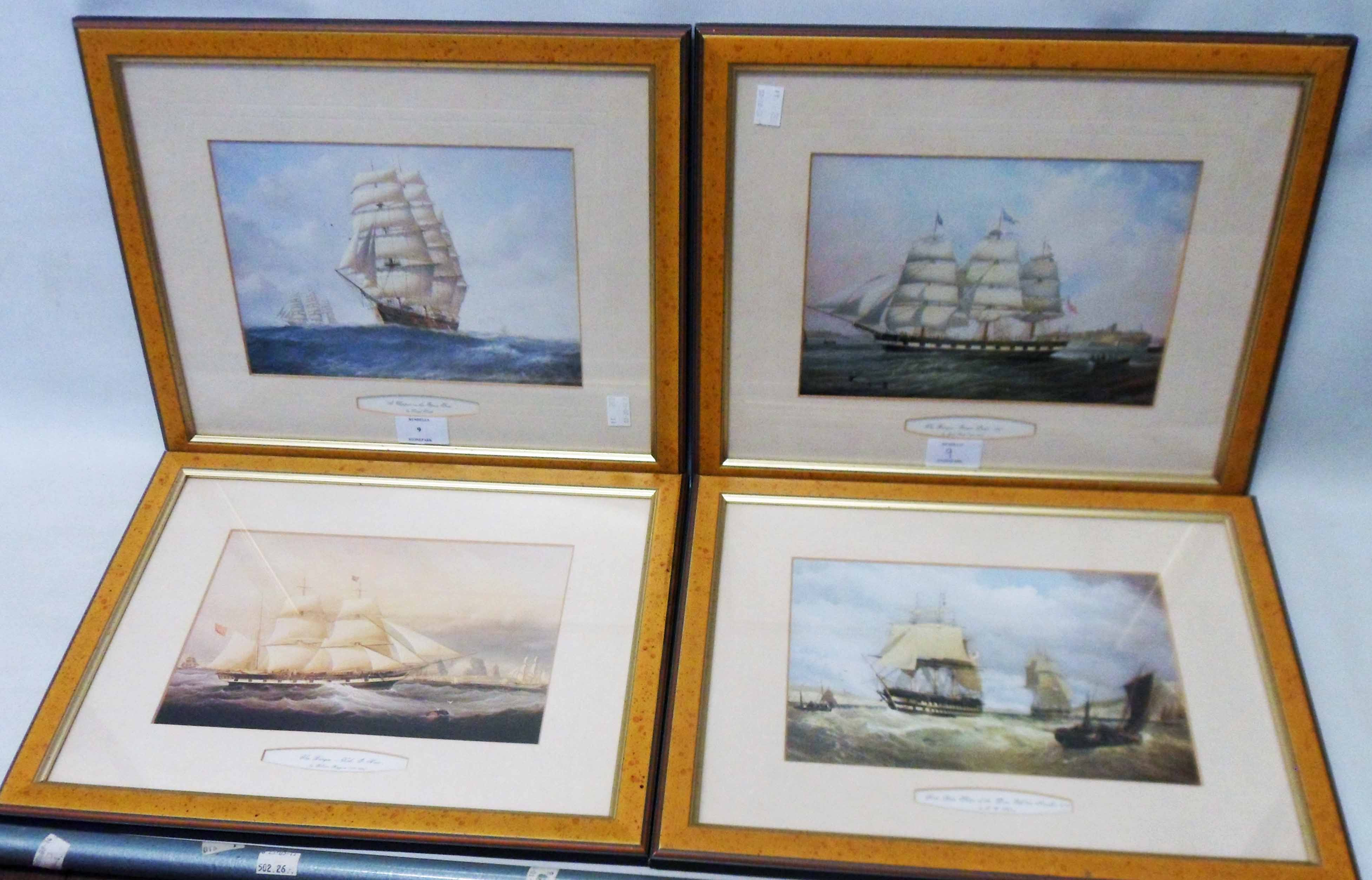 Four matching framed modern maritime prints, all depicting 19th Century sailing vessels