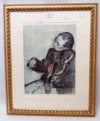 †Degas: a gilt framed coloured print, entitled Violinist Seated, Study