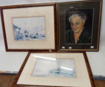 A framed gouache portrait of a lady - sold with two decorative framed Claude Kitto faded harbour