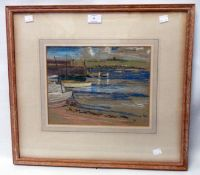 A framed pastel drawing, depicting a beached and moored dinghies and other small craft