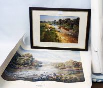 A framed coloured print, depicting figures fishing by a river - sold with four unframed rolled