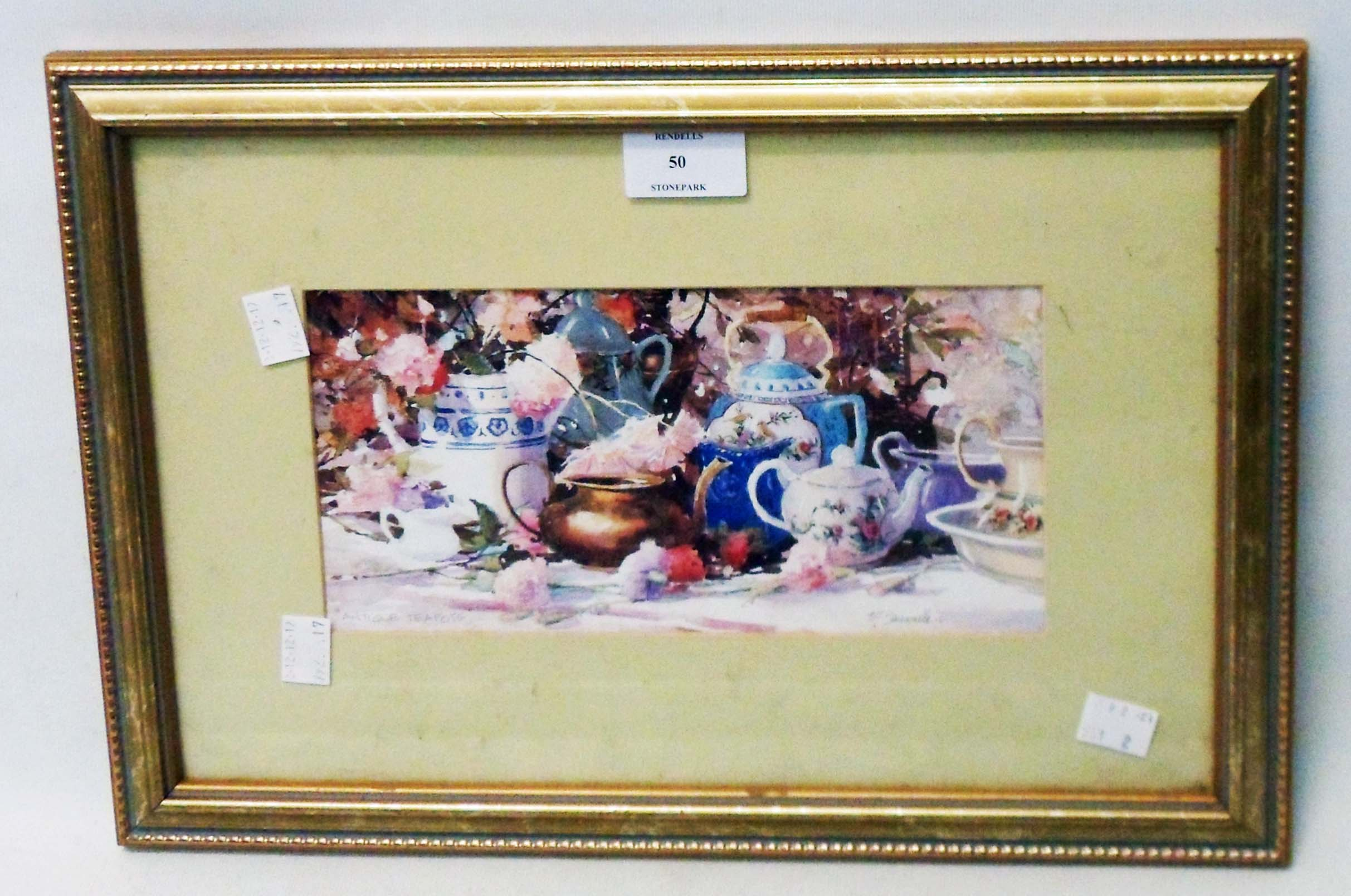 A gilt framed coloured print, depicting teapots and flowers on a table