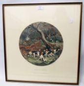 After W. J. Shayer: a framed circular image coloured hunting print, entitled Run to Earth
