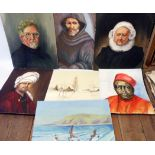 †M. Cox: four unframed oil portraits on board - sold with three other unframed paintings