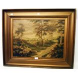 A gilt framed 19th Century English School oil on canvas, depicting a rural view with sheep on a