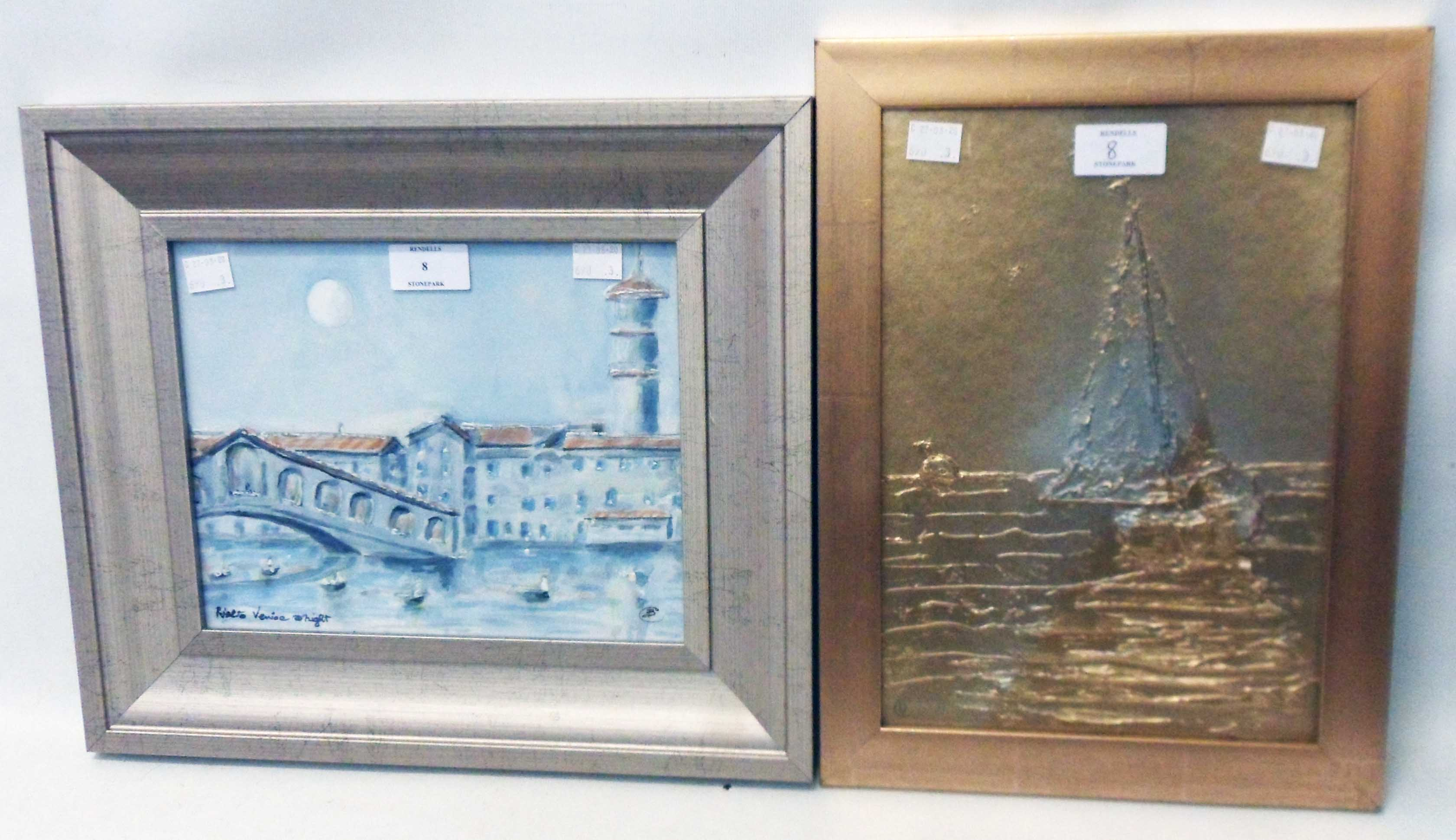 Barry Cleasby: Rialto Venice at Night - sold with a gilded textured picture of a sailing vessel