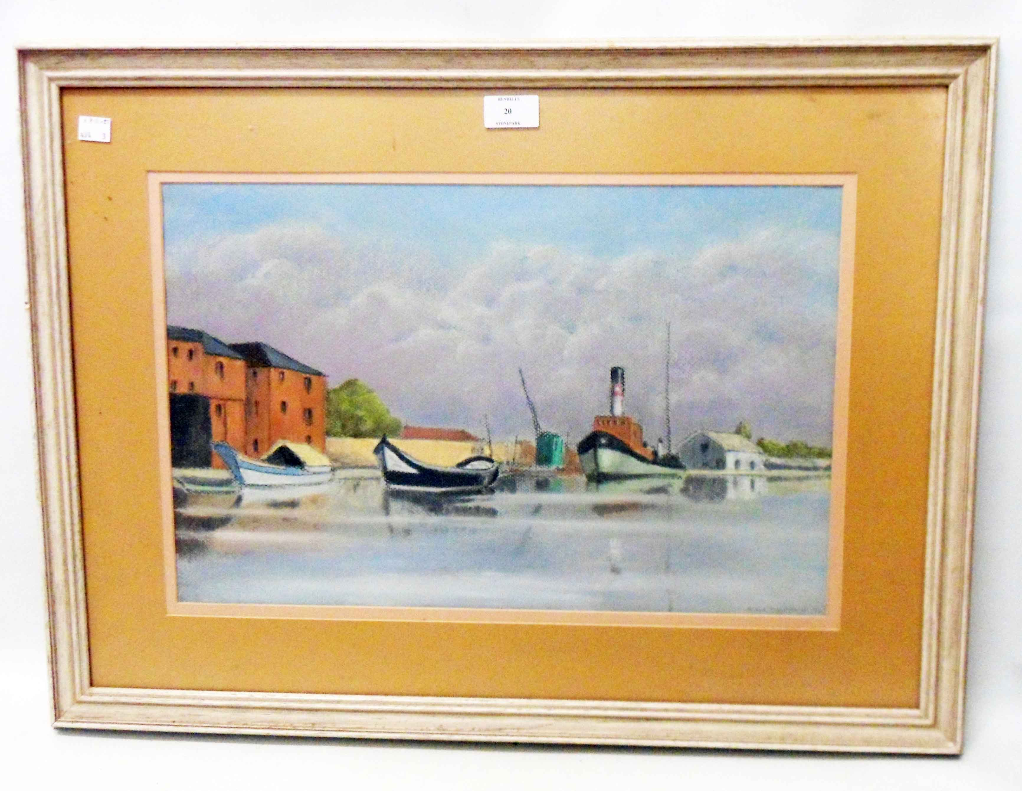 H. C. Channon: a framed pastel drawing, depicting a tug and other vessels on a waterway - signed