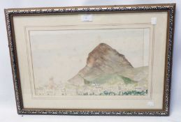 A gilt framed faded watercolour (slipped in frame) view of Montgo, Spain